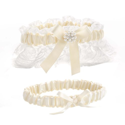 Hortense B Hewitt Splendid Elegance Toss and Keep Garter Set (Wedding Inspired Vintage Garter)