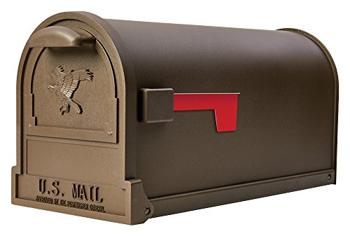 Gibraltar Mailboxes Arlington Large Capacity Galvanized Steel Bronze, Post-Mount Mailbox, AR15T000 (Steel Post Solar)