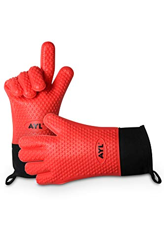 AYL Silicone Cooking Gloves - Heat Resistant Oven Mitt for Grilling, BBQ, Kitchen - Safe Handling of Pots and Pans - Internal Protective Cotton Layer