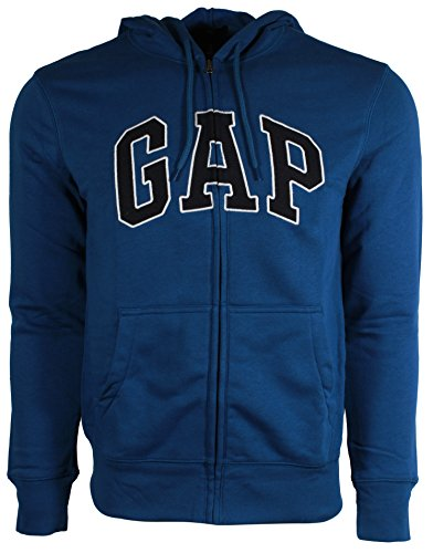 - GAP Mens Fleece Arch Logo Full Zip Hoodie (XL, Heather Blue)