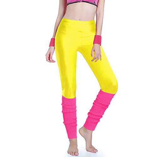 Kimberly's Knit Women 80s Party Neon Capri Running Workout Leggings Leg Warmers (Medium, Yellow+hotpink)]()