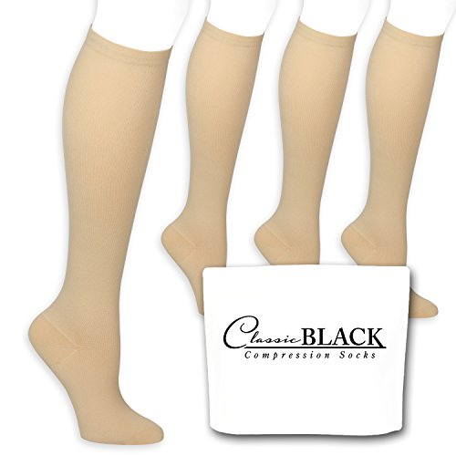 - Classic Black Beige/Tan Color Knee High Graduated Compression Socks 15-20 mmHg for Women and Men, 4 Pairs of Therapeutic, Occupational, Diabetic, Travel Knee-High Compression Socks