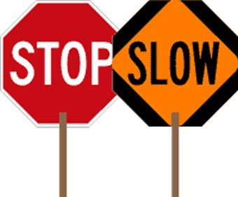 STOP-SLOW Paddle Sign - 18x18 - 2-Sided Hand-Held STOP-SLOW Sign