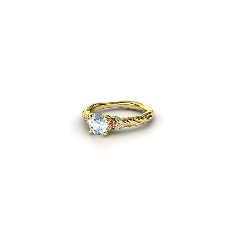Duchess of Hearts Ring Round Aquamarine 14K Yellow Gold Ring with Rhodolite Garnet & Diamond Jewelry
