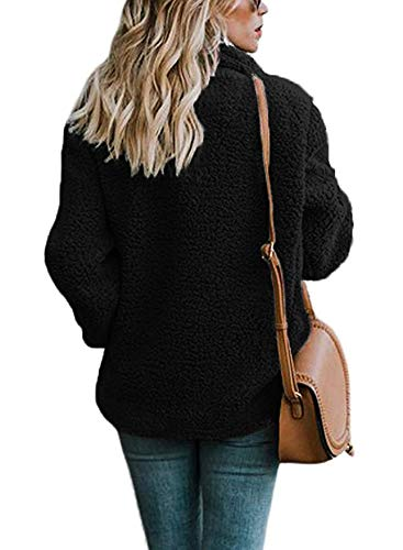 ECOWISH Womens Double Breasted Lapel Open Front Fleece Coat with Pockets Outwear Black M by ECOWISH (Image #2)