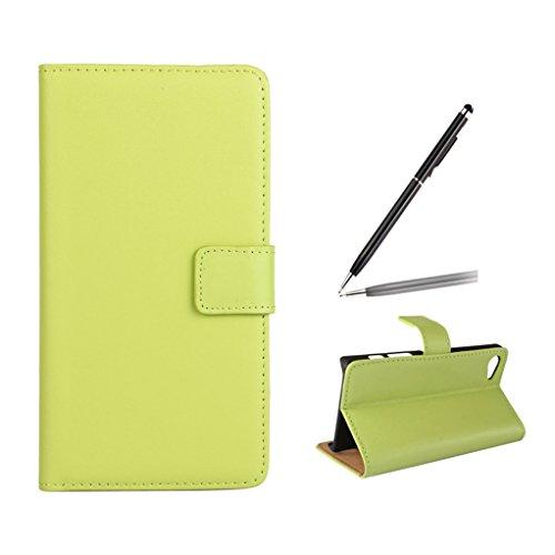 Trumpshop Smartphone Carcasa Funda Protección para Sony Xperia Z5 Premium + Blanco + Ultra Delgada Cuero Genuino Caja Protector con Función de Soporte Ranuras para Tarjetas Crédito Choque Absorción Verde