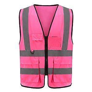 Pink high vis jacket high viz Class 2 hi vis Zipper Front High Visibility vest Hi Vis Executive Vest Waistcoat with…