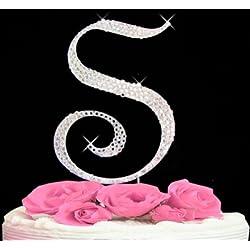 Rhinestone Cake Topper Letter S