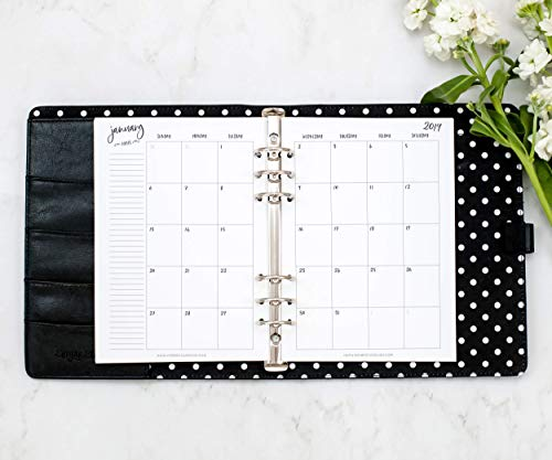 """2019 Monthly Calendar for A5 Planners, fits Filofax, Kikki K, Carpe Diem Planners, 6 Ring binder, 5.8"""" x 8.3"""" (Planner Not Included) …"""