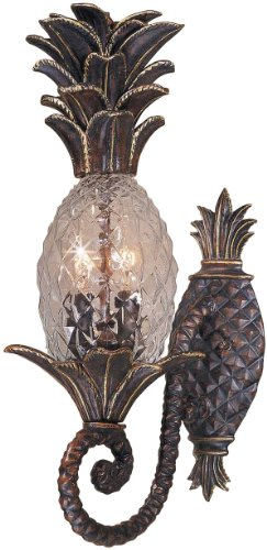Triarch International 75100-11 Maui Collection 2-Light Exterior Wall Fixture, English Bronze with Clear Hand-Crafted Pineapple Glass - English Bronze Entrance