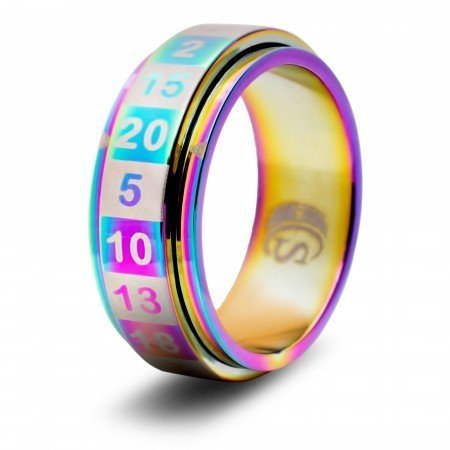 Critsuccess R20 Rainbow Dice Ring (Size 8)