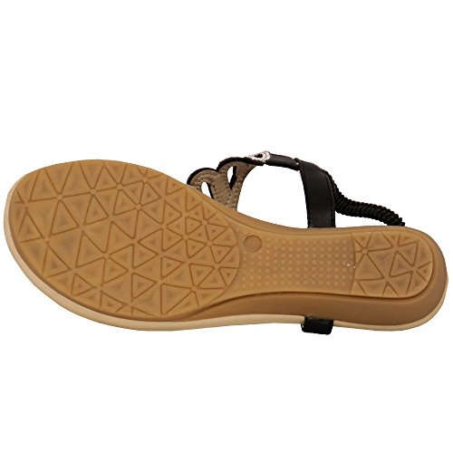 Kelsi Ladies Sandals Womens Diamante Slip On Toe Post Shoes Casual Fashion New Black - 6803 8MH5M7FGW