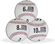Rukket Weighted Pitching Baseballs, Progression Throwing Balls for Training, Heavy Softballs for Hitting, Batt