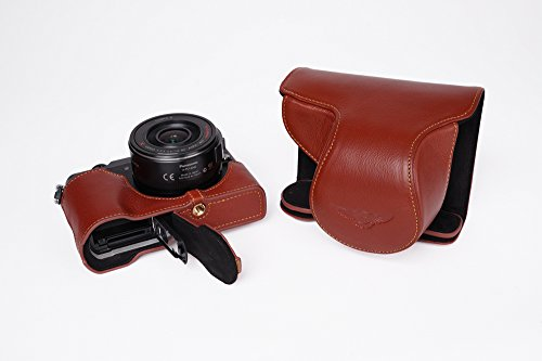 Coffee DMC-LX9 Case BolinUS Handmade Genuine Real Leather Half Camera Case bag Cover for Panasonic Lumix DMC-LX9 Bottom Opening Version
