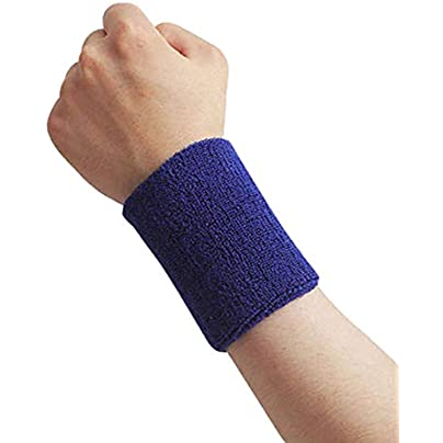 Momangel Sports Wristband Breathable Wrist Support Protector Sweatband for Tennis Basketball Badminton Blue Estimated Price £1.17 -
