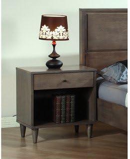 Alpine Furniture Flynn Nightstand, Walnut