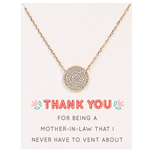 A+O Mother in Law Necklace Gift- Pave Disc Necklace in 14K Gold Vermeil