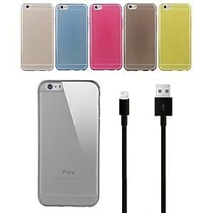 TL 0.3mm cubierta ultra delgado suave flexible de TPU con 100cm de 8 pines al cable de datos de carga del usb para el iPhone 6 Plus (Amarillo)