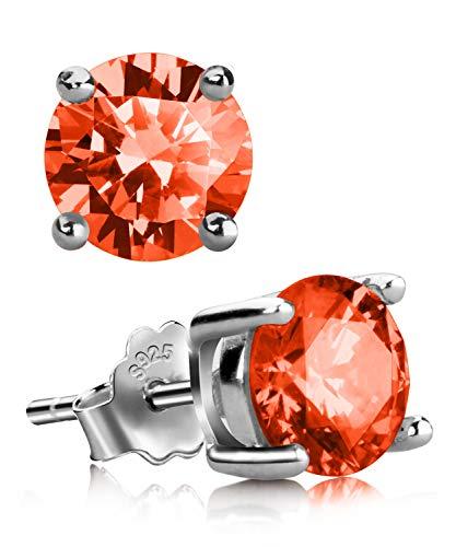 - Stud Earrings, UHIBROS Sterling Silver Birthstone Round Cubic Zirconia Diamond Earrings (July-Ruby)