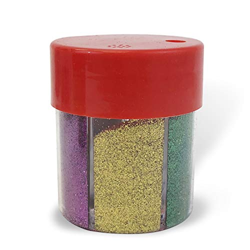 (Allgala Arts and Crafts Fine Glitter Shake 6-Color Dispenser - Painting Scrapbook Makeup Slime Party School Supply)