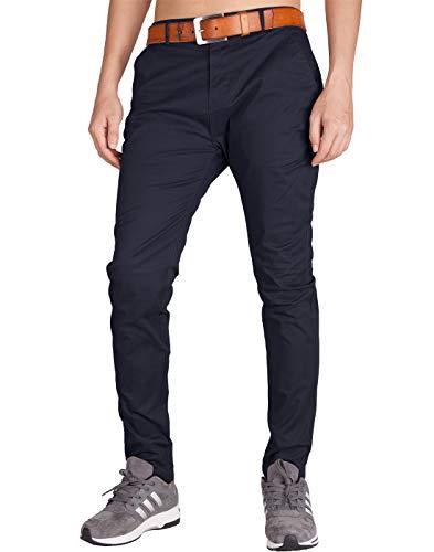 ITALY MORN Men's Chino 5 Pocket Flat Front Casual Pants 36 Dark Blue ()