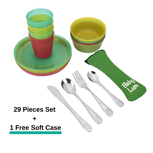 (BabyLum Kids Dinnerware and Cutlery Set - 4 Place Settings Include Plates, Bowls, Cups and Utensils Plus 1 Flatware Carrying Case (29 Pieces))