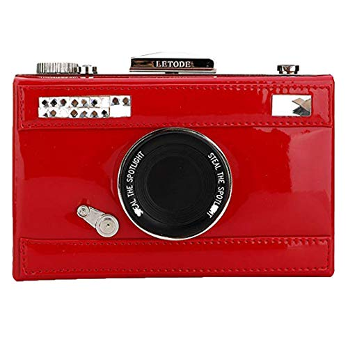 EROUGE Designer Evening Clutch Bags Women Leather Crossbody Purses Camera Style Clutch with Adjustable Strap (Red)