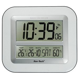atomic lcd wall clock with temperature date humidity t