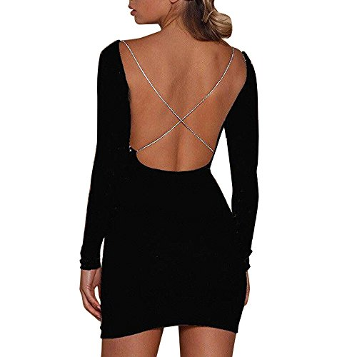 Hot Sale Women Ladies Sexy Dress Usstore Blackless Shiny Bodycon Club Pullover Dress Cloth (Black, S)