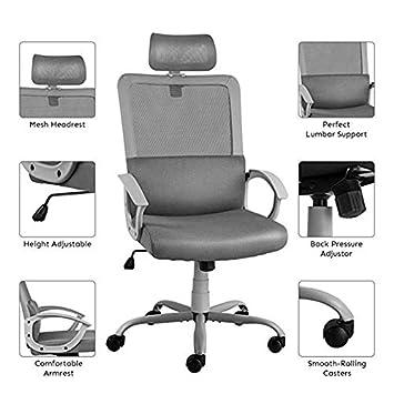 Ergonomic Office Chair Adjustable Headrest Mesh Office Chair Office Desk Chair Computer Task Chair Light Gray