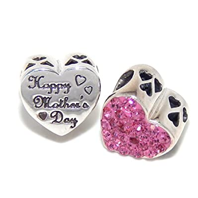 ".925 Sterling Silver ""2 Sided Happy Mother's Day / Pink Crystal on Heart"" Charm Bead for Snake Chain Charm Bracelets"