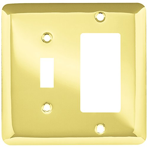 Brainerd 64364 Stamped Steel Round Single Toggle Switch/Decorator Wall Plate / Switch Plate / Cover, Polished Brass ()