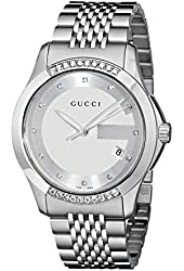 "Gucci Men's YA126407 ""G-Timeless"" Stainless Steel Diamond-Accented Watch"