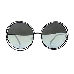 XXL Halo Double Wire Oversized Big Round ROXANNE Bohemian Coachella Sunglasses Color Black Mirror