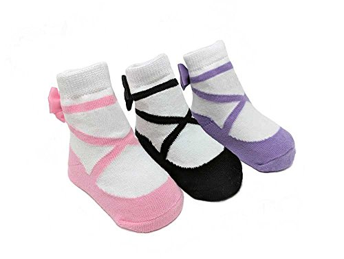 Price comparison product image Baby Emporio-Baby & Toddler Socks-Looks Like Shoes-3 Pair-Cotton-Anti-slip-Gift Box (0-12 Months, BALLERINA)