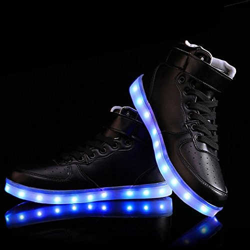 Charles Albert High Top Light Up Intermitente Resplandor En La Oscuridad Mujeres Hombres Usb Charging Multi Color Led Parpadeante Zapatillas Negro