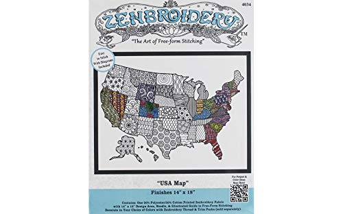 Design Works Crafts 4034 Zenbroidery Fabric USA Map (Map Kit)