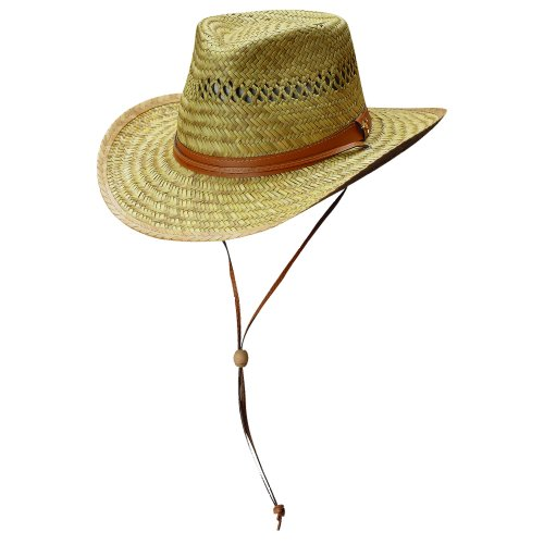 [Dorfman Pacific Mens Rush Straw Lightweight Outback Hat with Chin Cord, Medium, Natural] (Straw Safari Hat)