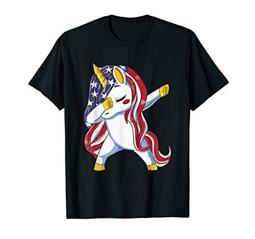 USA Flag Dabbing Unicorn Dress Stuff 4th of July Girls Women T-Shirt -