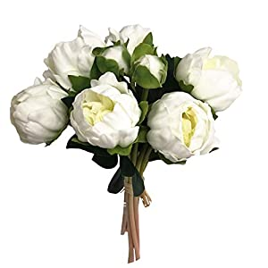 Angel Isabella, LLC Real Touch Peony Bouquet-6blooms 2buds Perfect for Home Decor Wedding, DIY Bouquet Corsage Centerpiece PU Realistic Feel (Ivory) 83