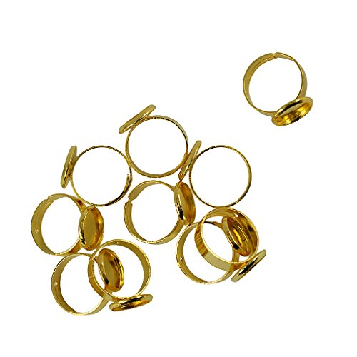 Jili Online 10 Pieces Adjustable Round Pad Ring Bases Blank Findings 12mm Cabochon Ring Findings - Gold - Cabochon Gold Ring