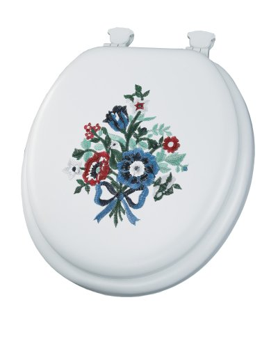 Mayfair Bouquet Embroidered Soft Toilet Seat with Easy Clean & Change Hinges, Round, White, 1317EC - Center Mayfair