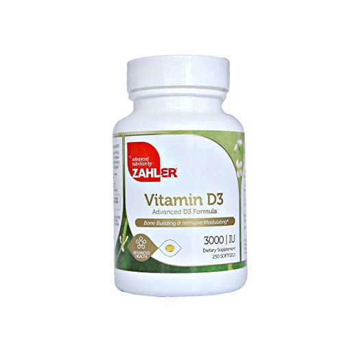 Zahler Vitamin D3 3000IU, An All-Natural Supplement Supporting Bone Muscle Teeth and Immune System, Advanced Formula Targeting Vitamin D Deficiencies, Certified Kosher, 250 Softgels
