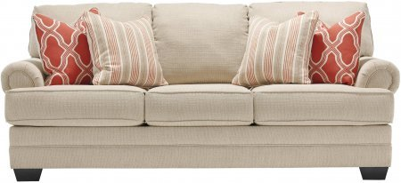 Benchcraft Sansimeon 7990438 87″ Stationary Fabric Sofa with Toss Pillows Included Rolled Arms and Coil Seat Cushions in Stone