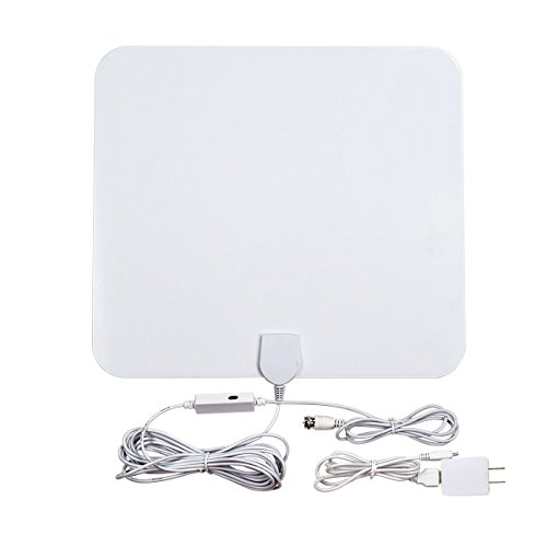 DuaFire 50 Miles Reception Amplified HDTV Antenna,Ultra Thin Indoor HDTV Antenna Built-in Amplifier for UHF/VHF with 16.4ft Coaxial Cable(White)