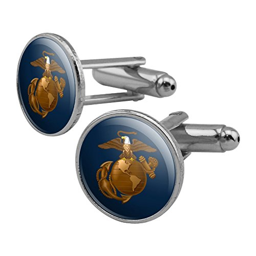 Marines USMC Eagle Globe Anchor on Blue Officially Licensed Round Cufflink Set Silver Color