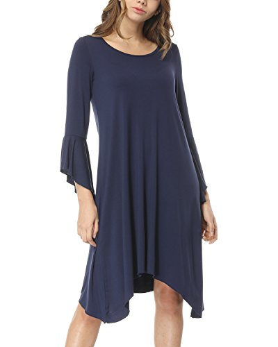 Bell Sleeves Tunic (KIMILILY Women's Long Bell Sleeve Swing Tunic Dress Casual Loose T-Shirt Dress (Navy Blue, 2XL))