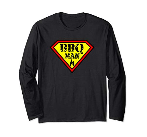BBQMAN bbq grillin smoke smoker hype meat lover t-shirt Long Sleeve (Best Bbq Ga Grillss)