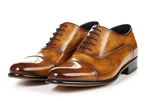 - Men's Cagney II Stitched Cap-Toe Oxford Shoes, Italian Calfskin Leather (Tobacco)