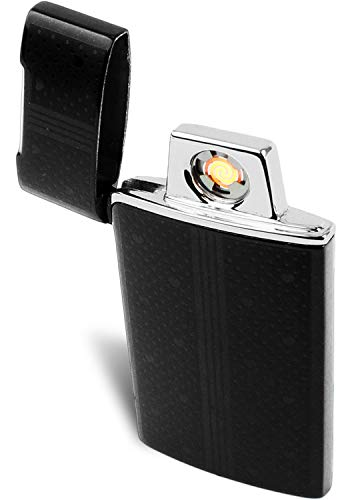 Electric Flameless Coil Lighter - Windproof USB Rechargeable Tesla Lighter for Easy Lighting of Cigarettes and Cigars by bogo Brands (Black)